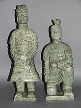 PAIR OF CHINESE CARVED STONE TERRACOTTA ARMY WARRIORS