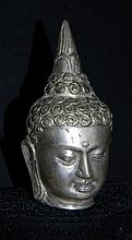 SILVERED BRASS BUDDHA HEAD
