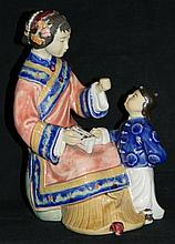 CHINESE SHIWAN STYLE CERAMIC MOTHER & CHILD FIGURE