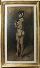 JOHN ROSSI 1984 NUDE OIL ON CANVAS PAINTING