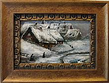 1919 SIGNED EUROPEAN OIL / CANVAS WINTER TOWNSCAPE