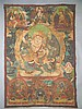 EARLY 20th c TIBETAN THANGKA MANDALA HAND PAINTED CLOTH