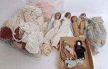 DOLLS: Three 19th century miniature china / porcelain dolls, along with 4x wooden skittle dolls, a p