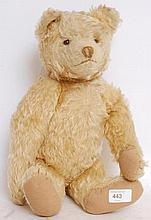 A mid-20th century rare Eduard Cramer 1930's golden mohair stuffed toy teddy bear, with detailing to