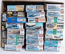 MODEL KITS: 26x model kits - Academy, Hasegawa, Heller etc. Each of military war planes.  From a lar