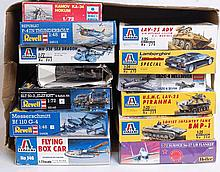MODEL KITS: a collection of 13x plastic model kits - Heller, Italeri, Academy, Revell etc - comprisi