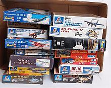 MODEL KITS: 15x warplane model kits - Italeri, Esci & Revell etc.  From a large consignment of plast