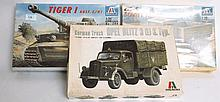 MODEL KITS: 3x 1:35 scale military model kits, including German truck, Soviet truck and Tiger tank.