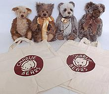 TEDDY BEARS; A collection of three Charlie Bears - each with labels etc, along with one Steiff teddy