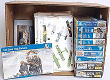 MODEL KITS: 18x plastic model kits to include Heller, Italeri etc - comprising of figures and planes