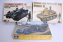MODEL KITS: £x 1970's 1:35 scale military model kits including Soviet Truck, German Assault Tank, ea