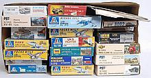 MODEL KITS: 21x plastic model kits - military themed - PST, Heller, Italeri and others.  From a larg