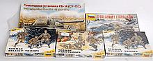 MODEL KITS: 1970's Russian model kits - German Paratroopers, German Assault Troops (x2), A Soviet Li