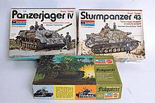 MODEL KITS: 3x monogram tank model kits, 1969 & 1973 of a Flak Panzer, Sturmpanzer and a Panzer JAge