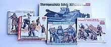 MODEL KITS: 5x Academy Hobby model kits including German Assault Tank, German Tank Supply & Crew Set
