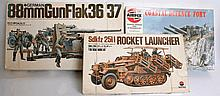 MODEL KITS: A collection of 3x 1970's model kits including Nitto Rocket Launcher vehicle, Airfix sna