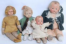 DOLLS; A good collection of four vintage / antique dolls - including composition headed, early plast
