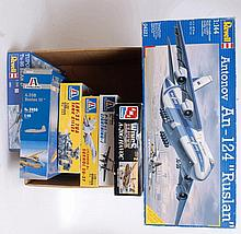 MODEL KITS: A collection of 7x large scale model kits - Revell, Italeri, and AMT ERTL.  From a large