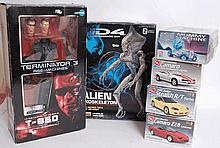 MODEL KITS: A Terminator Rise Of The Machines ArtFX Snap-On figure, 3x ERTL car kits, ERTL Mummy MAc