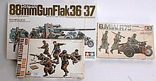 MODEL KITS: 3x 1970's vintage model kits including Tamiya Motorcycle Crew, Esci, Tamiya German 88mm,