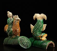 2 Chinese Tang Ceramic Roof Tiles