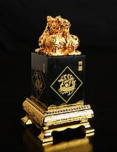 Chinese Carved Jade & Gilded Seal on Stand