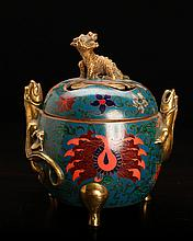 Chinese Bronze & Enameled Censer