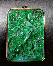 Chinese Carved & Mounted Jade Pendant