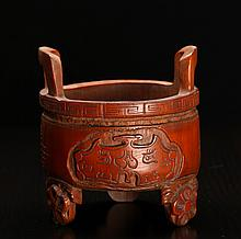 Chinese Carved Bamboo Censer