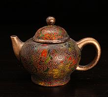 Chinese Enameled Zisha Clay Teapot