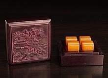 4 Chinese Seals in Molded Box