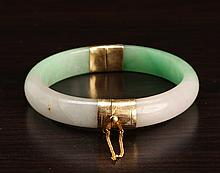 Chinese 14K & Jade Bangle