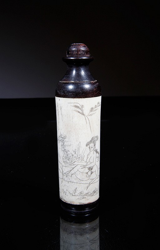 Chinese Bone & Rosewood Erotic Snuff Bottle