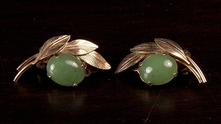 Pair of Chinese Jade Earrings