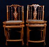 Pair of Chinese Inlaid Wood Chairs