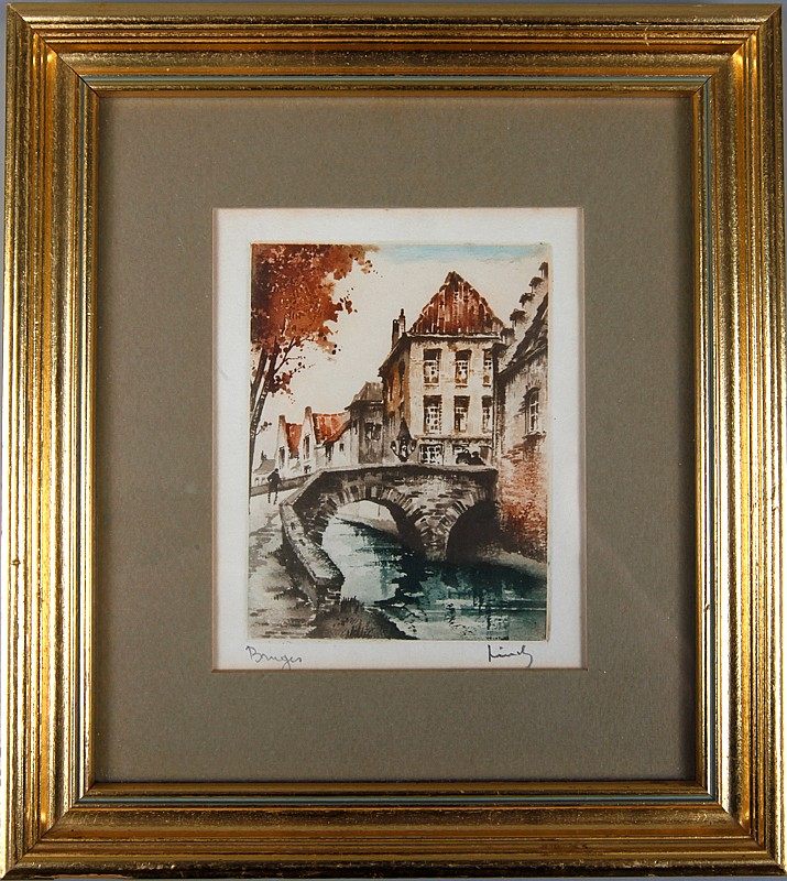 Framed and Signed Colored Bookplate