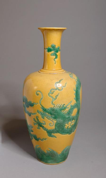 CHINESE SAFFRON YELLOW AND GREEN PORCELAIN VASE
