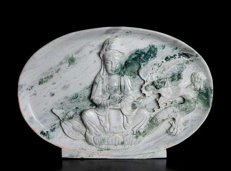 Chinese Carved Nephrite Jade Plaque