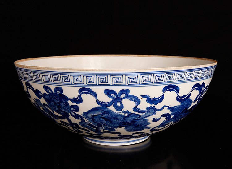 Chinese Eggshell Blue & White Porcelain Bowl