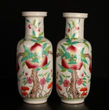 Pair of Chinese Bang Chui Porcelain Vases