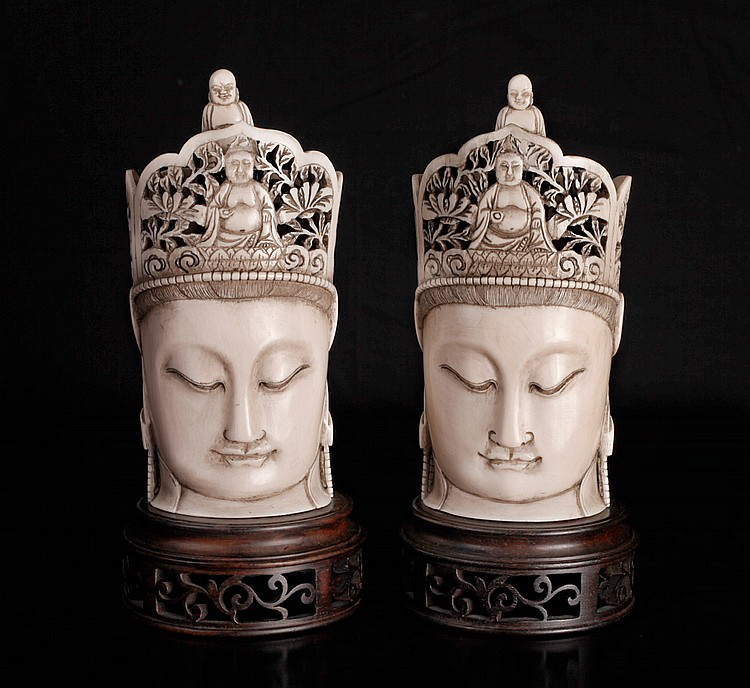 Pair of Chinese Carved Ivory Buddha's