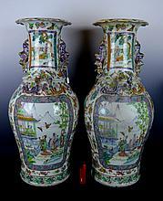 Pr Large 19th C Chinese Porcelain Enameled Vases