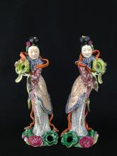 A FINE PAIR OF FAMILLE ROSE FIGURES OF LADIES