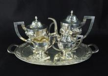 CHINESE SILVER TEA AND COFFEE SERVICE, 19th/20th C