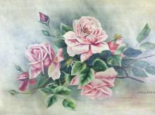 Roses Oil on Canvas, Signed Annie Dewit, Framed