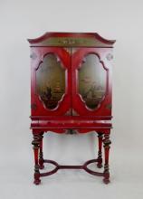 Painted Oriental Design Secretary Cabinet