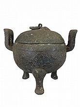 Chinese Warring States Period Covered Bronze Urn