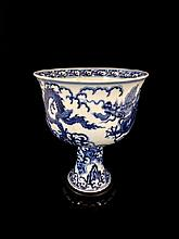 Chinese Blue and White Porcelain Chalice on Stand