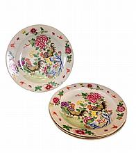 Set of 4 pcs, Chinese Export Famille Rose Porcelain