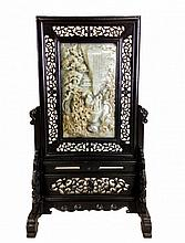 Antique Carved White Jade Panel Table Screen
